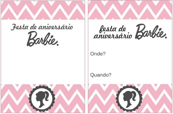 convite barbie para imprimir