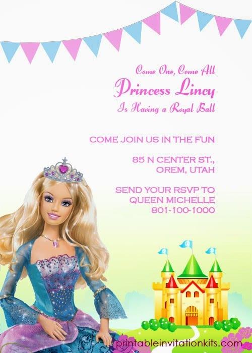 Convites de aniversário Barbie